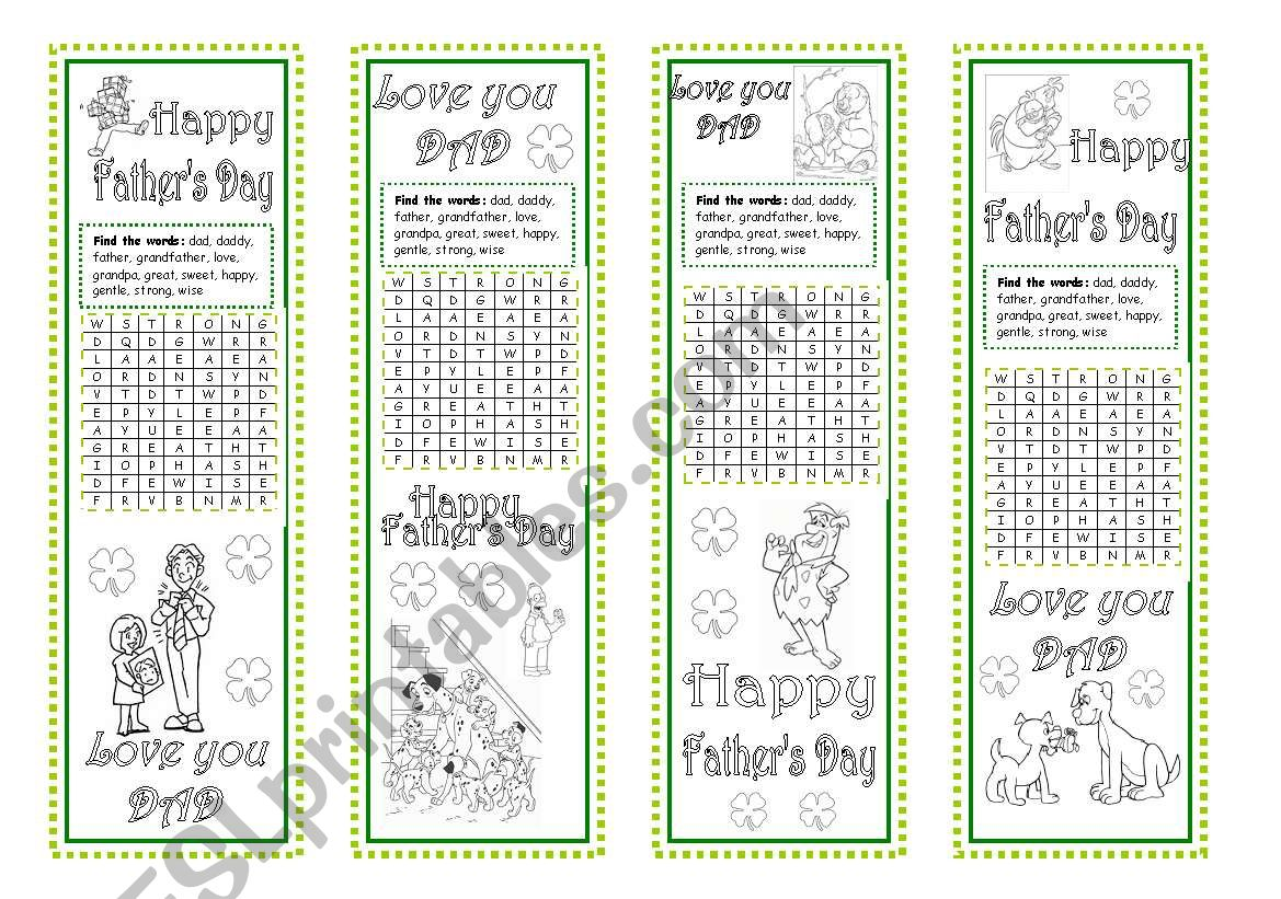 Father´s Day Bookmarks worksheet