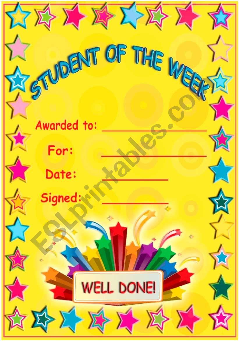 Student of the week! worksheet