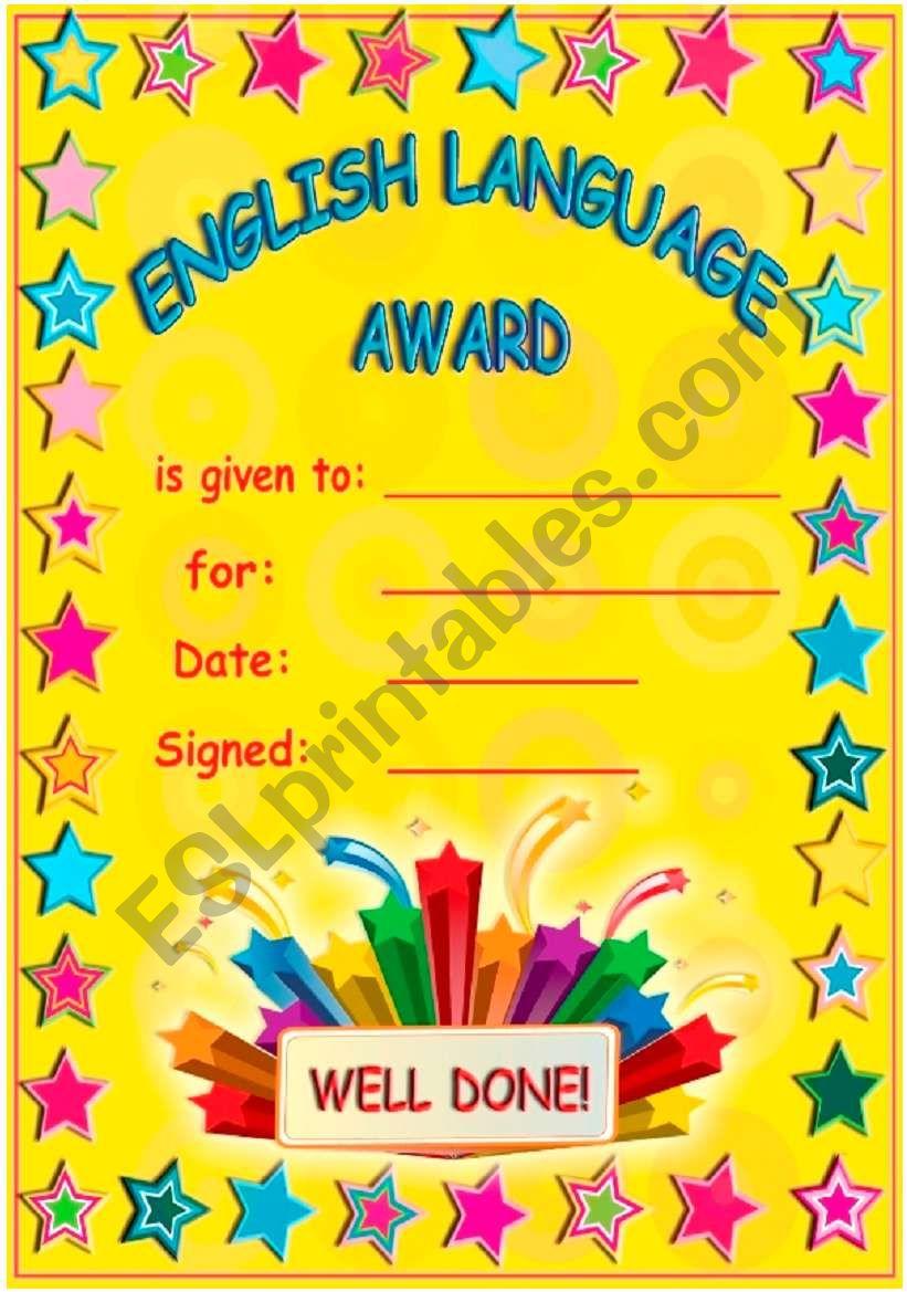 Englsh Language Award! worksheet