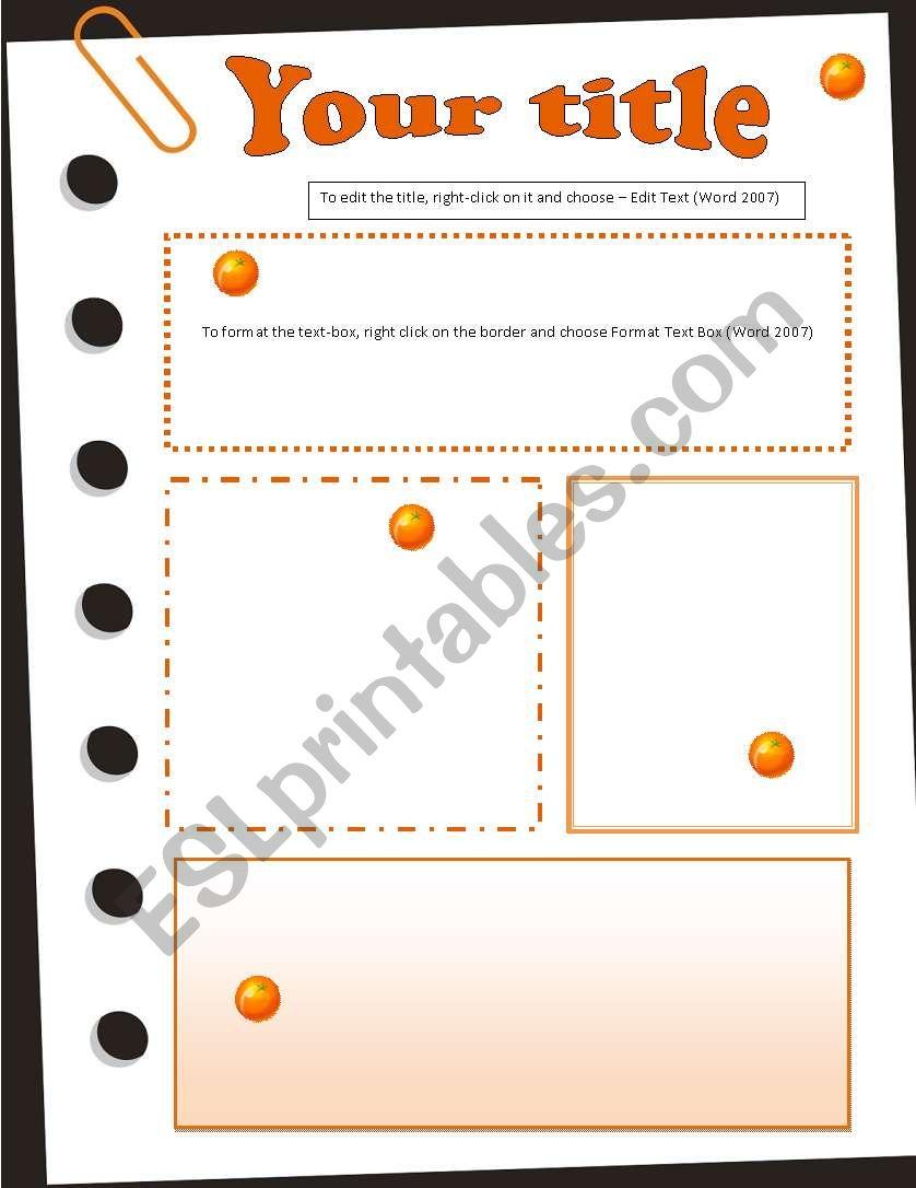 Template Oranges worksheet