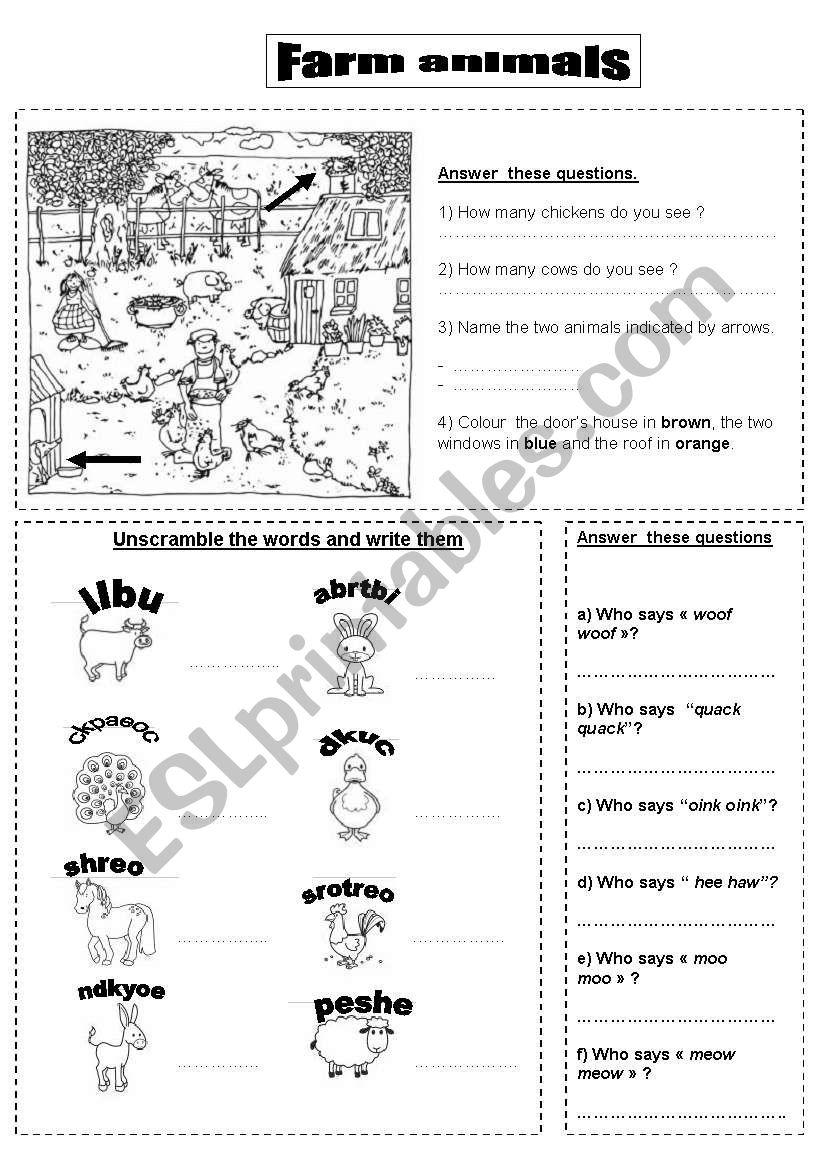 farm animals FIRST worksheet