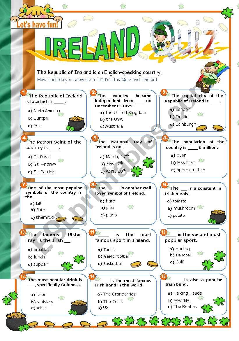 Ireland Quiz worksheet