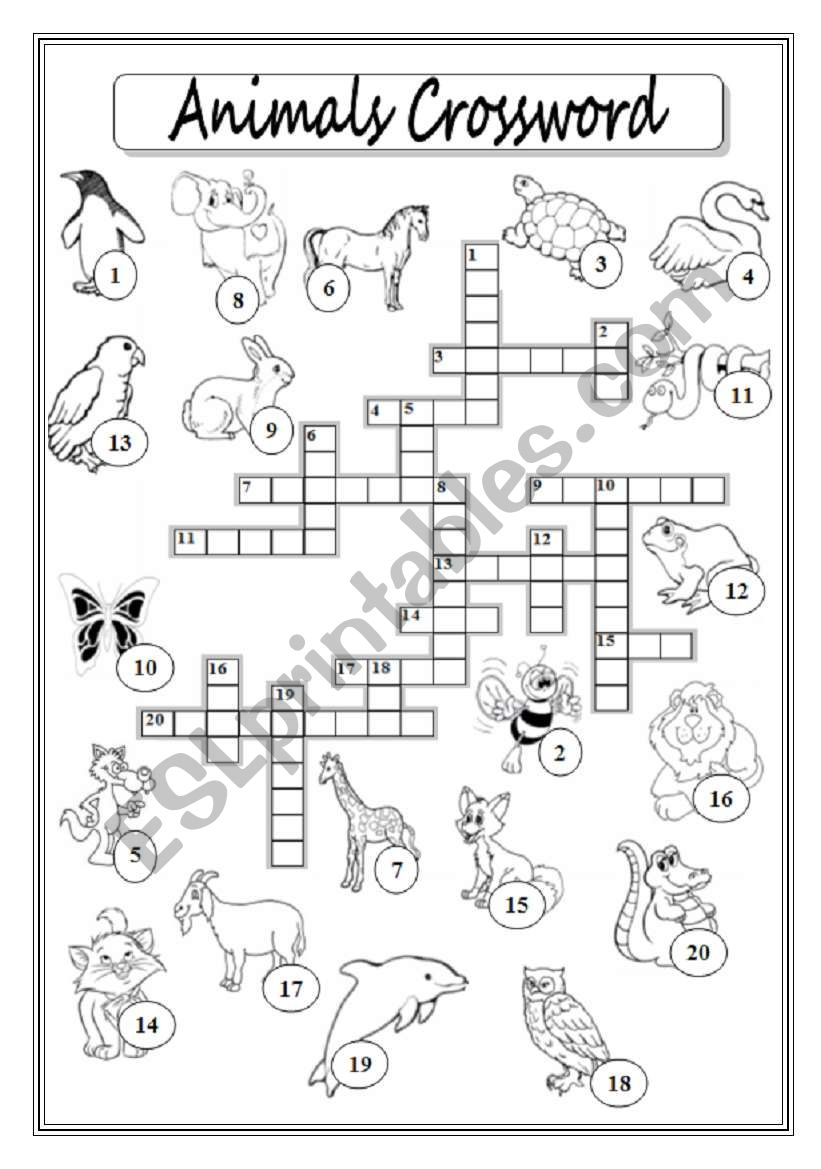 animals crossword puzzle esl worksheet by xyz5. Black Bedroom Furniture Sets. Home Design Ideas