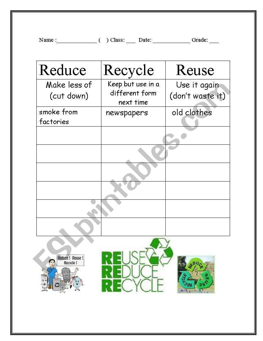 English Worksheets Reduce Reuse And Recycle