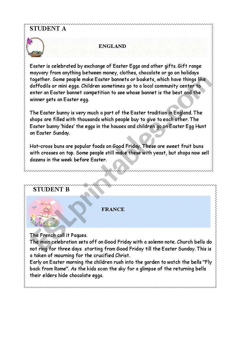 Easter in Europe worksheet