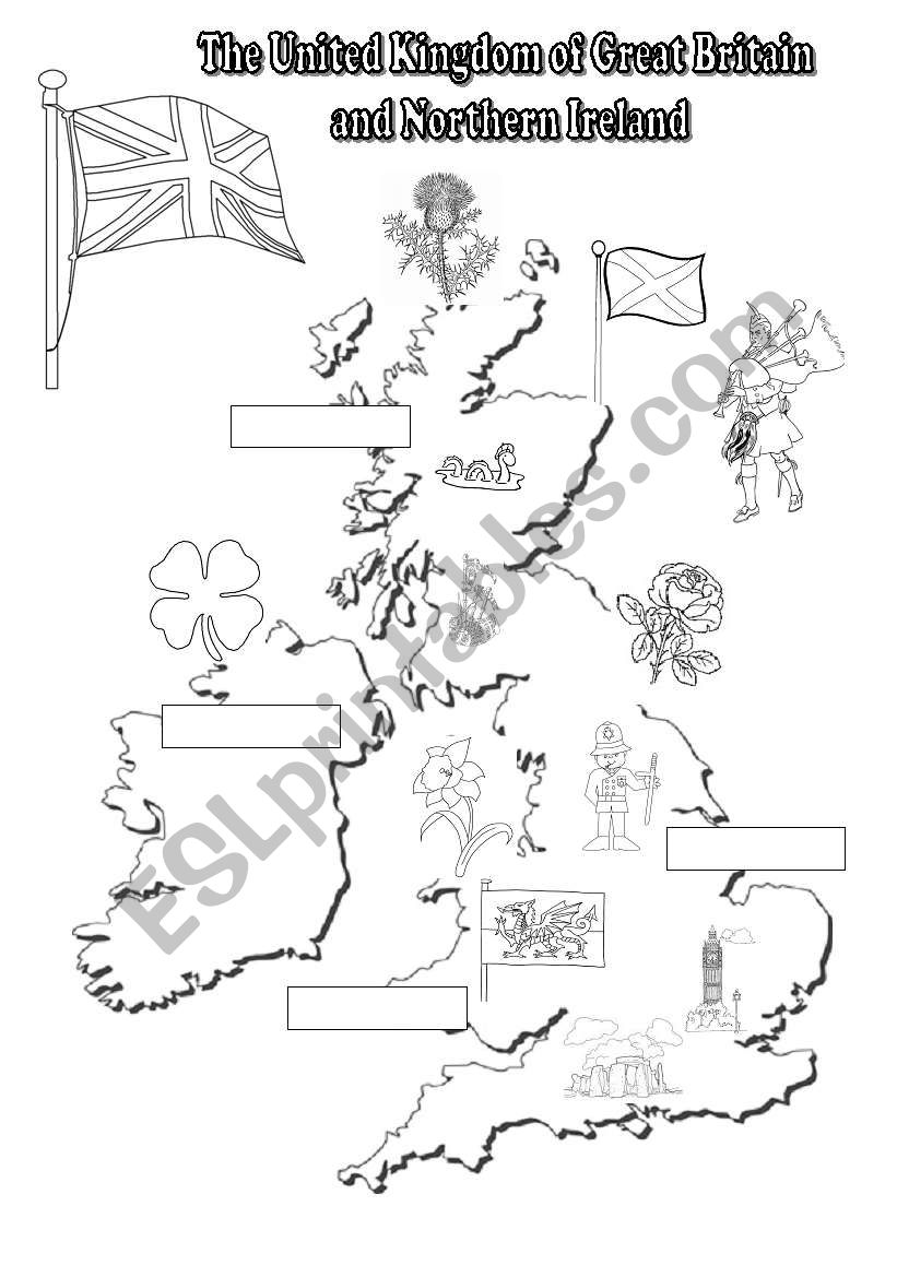 Map Of Uk Black And White.The Uk Black And White Map For Young Learners Esl Worksheet By