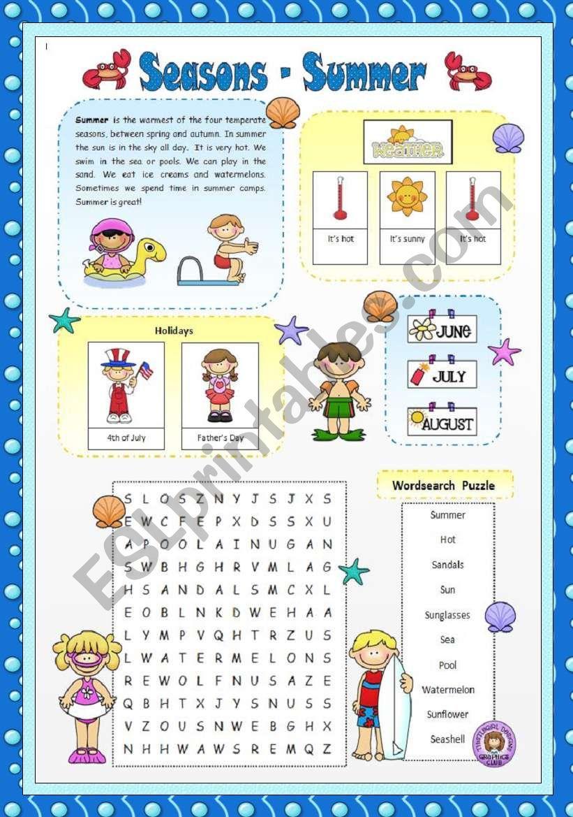 Seasons - Summer worksheet