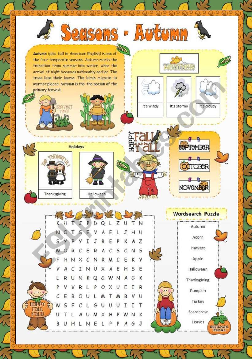 Seasons - Autumn worksheet