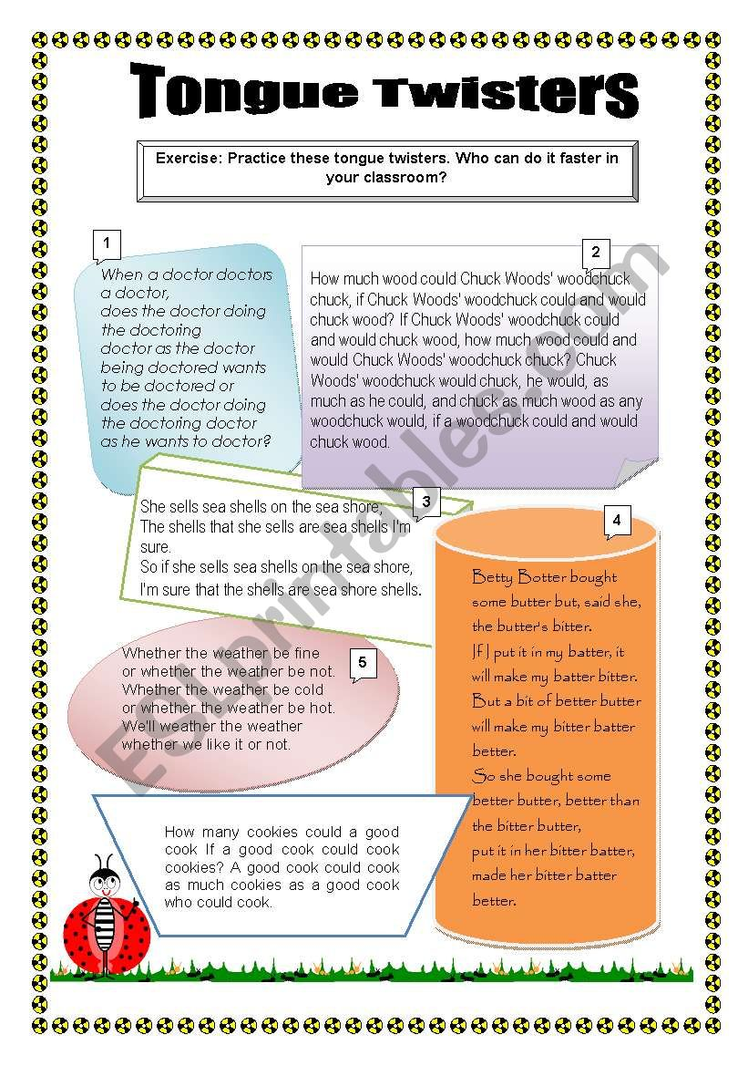 Tongue Twisters worksheet