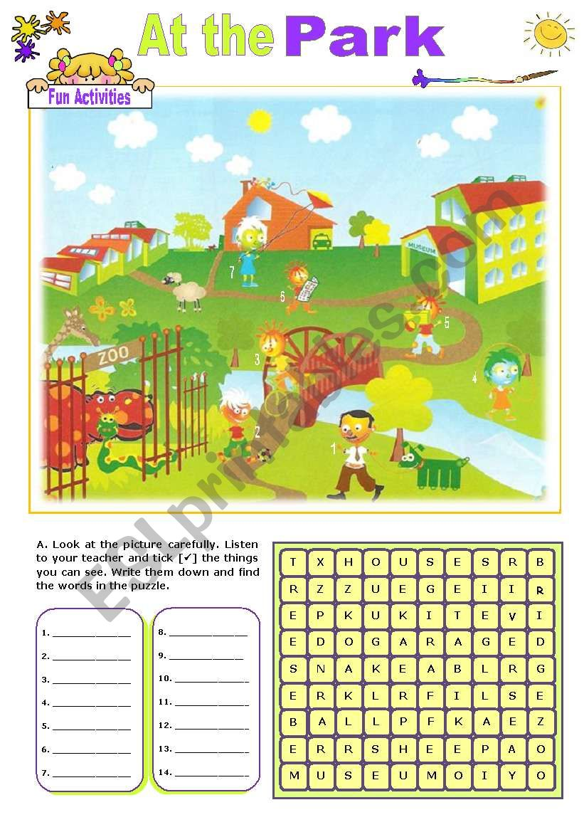 At  the  Park worksheet