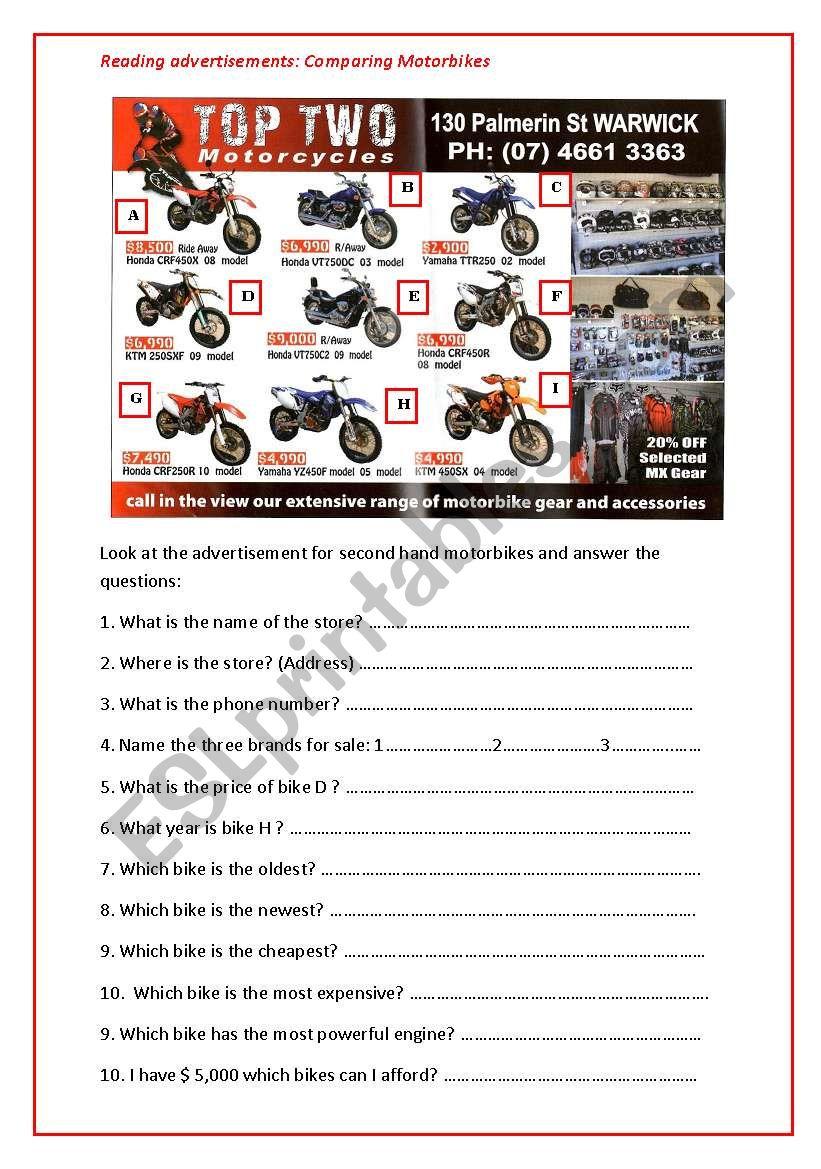 Reading advertisements comparing motorbikes esl worksheet by apodo reading advertisements comparing motorbikes ibookread Read Online