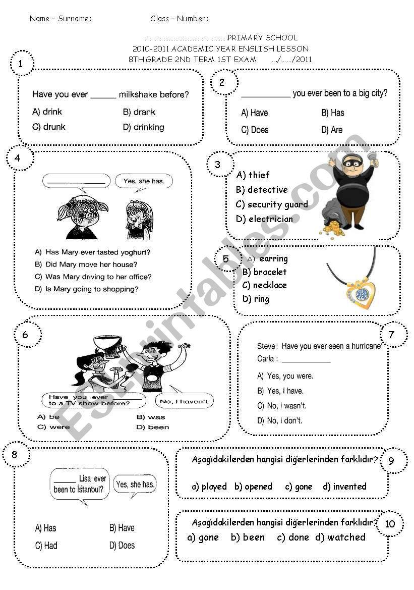 - 8th Grade 2nd Term 1st Exam (ENGLISH NET 8) - ESL Worksheet By Sevim-6