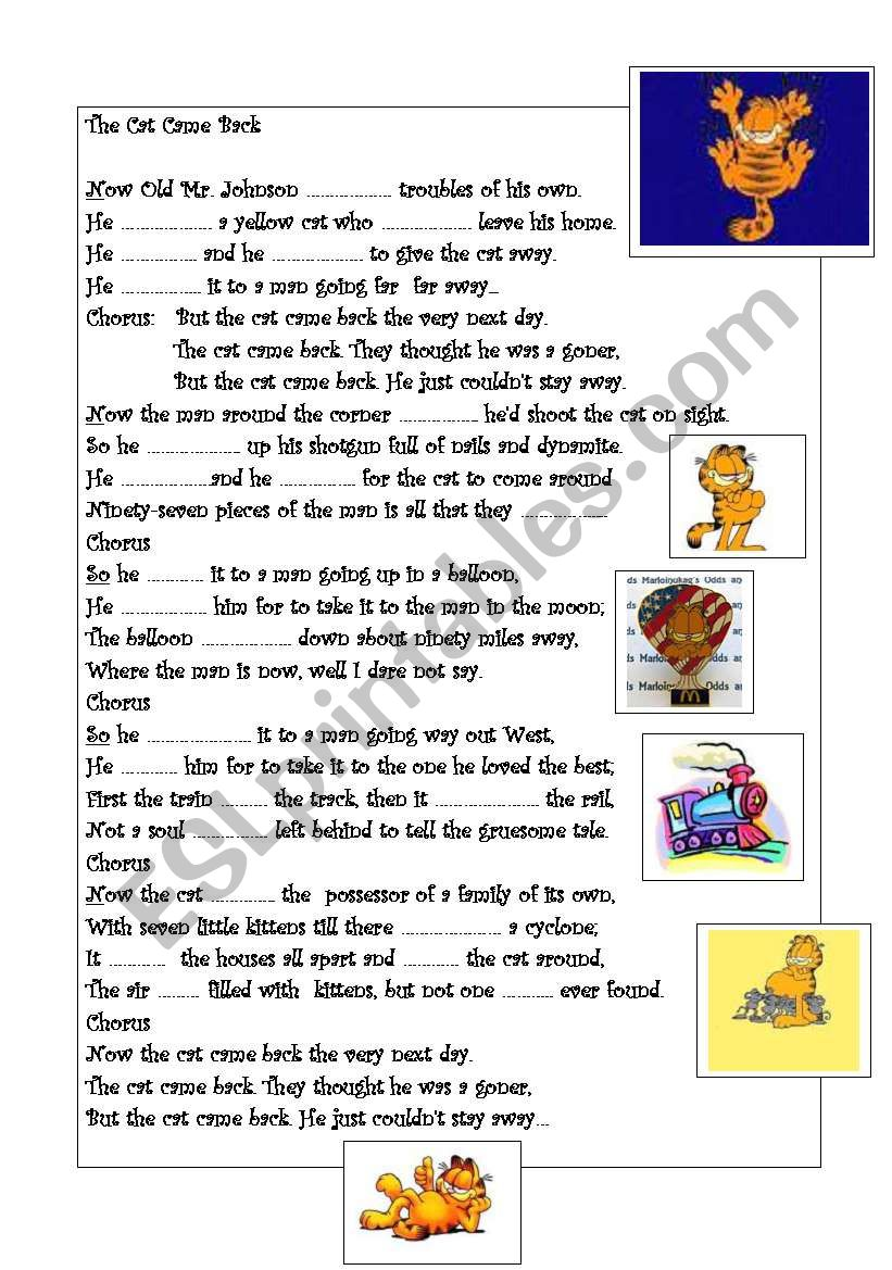 Song: The cat came back. worksheet