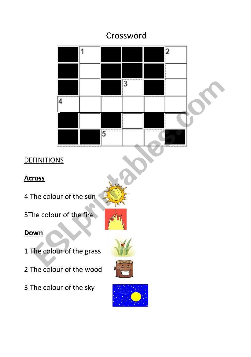 crossword colours worksheet