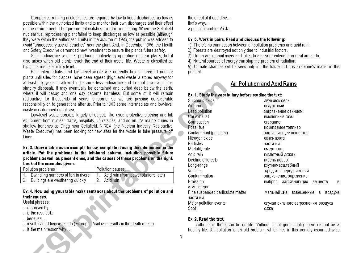 environmental issues - ESL worksheet by LethalSin