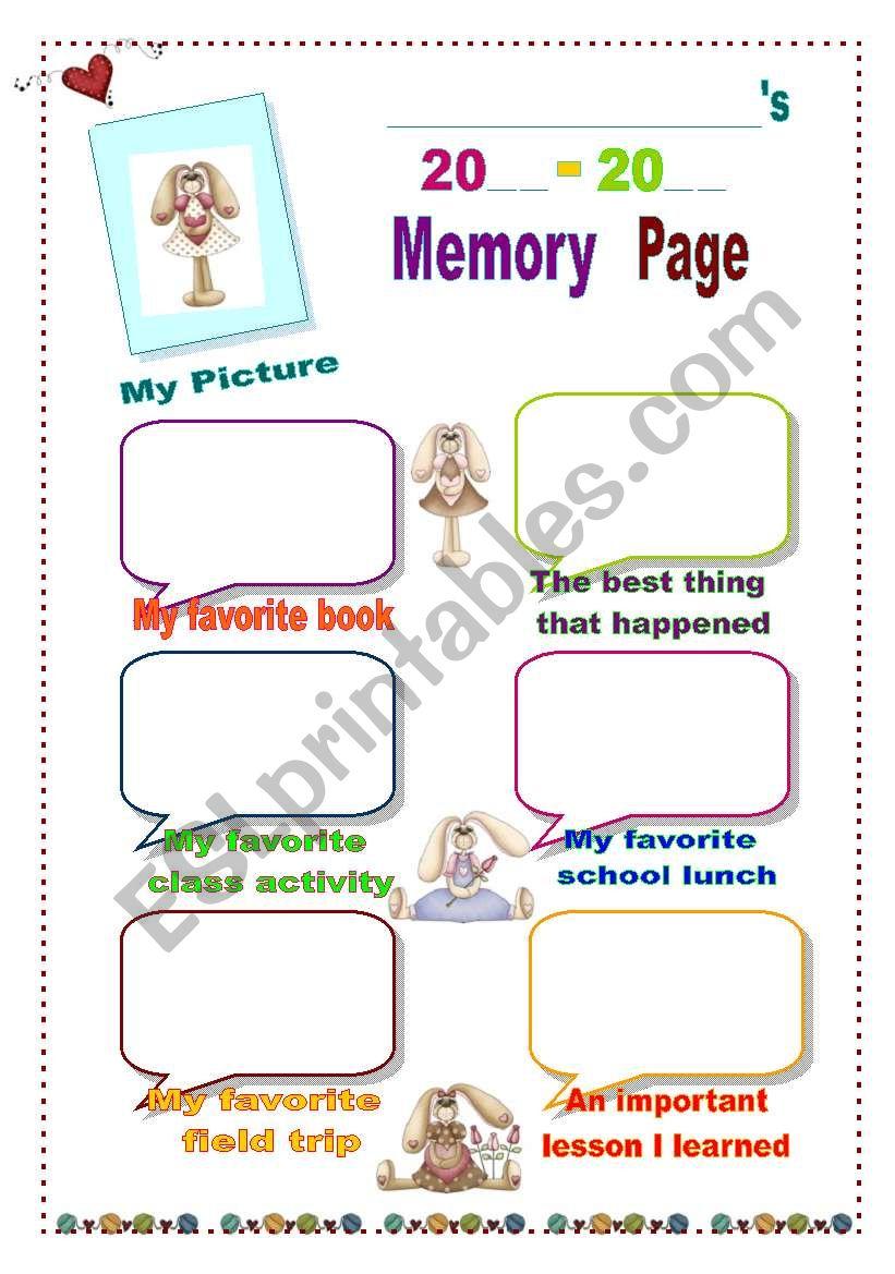 Memory Page  worksheet