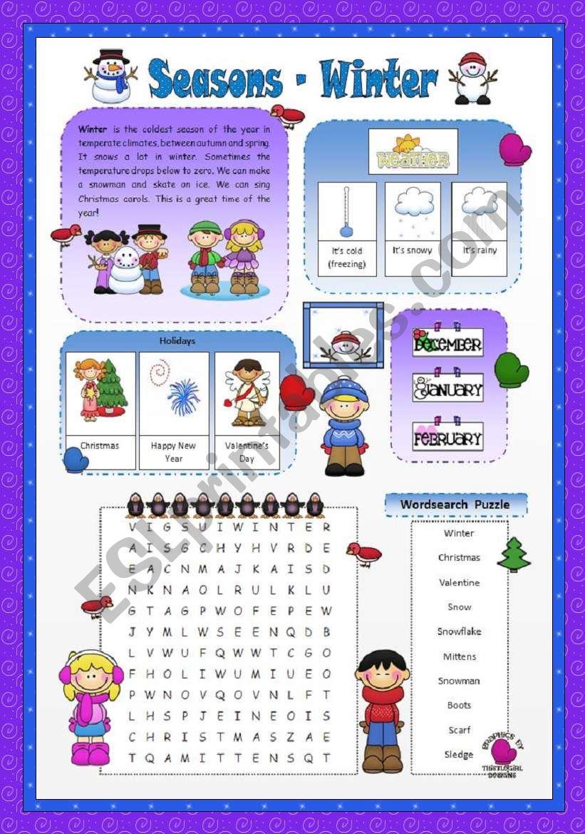 Seasons- Winter worksheet