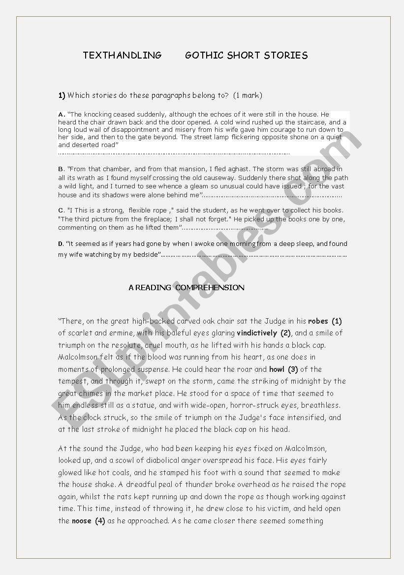- Gothic Short Stories - ESL Worksheet By Margamarlo