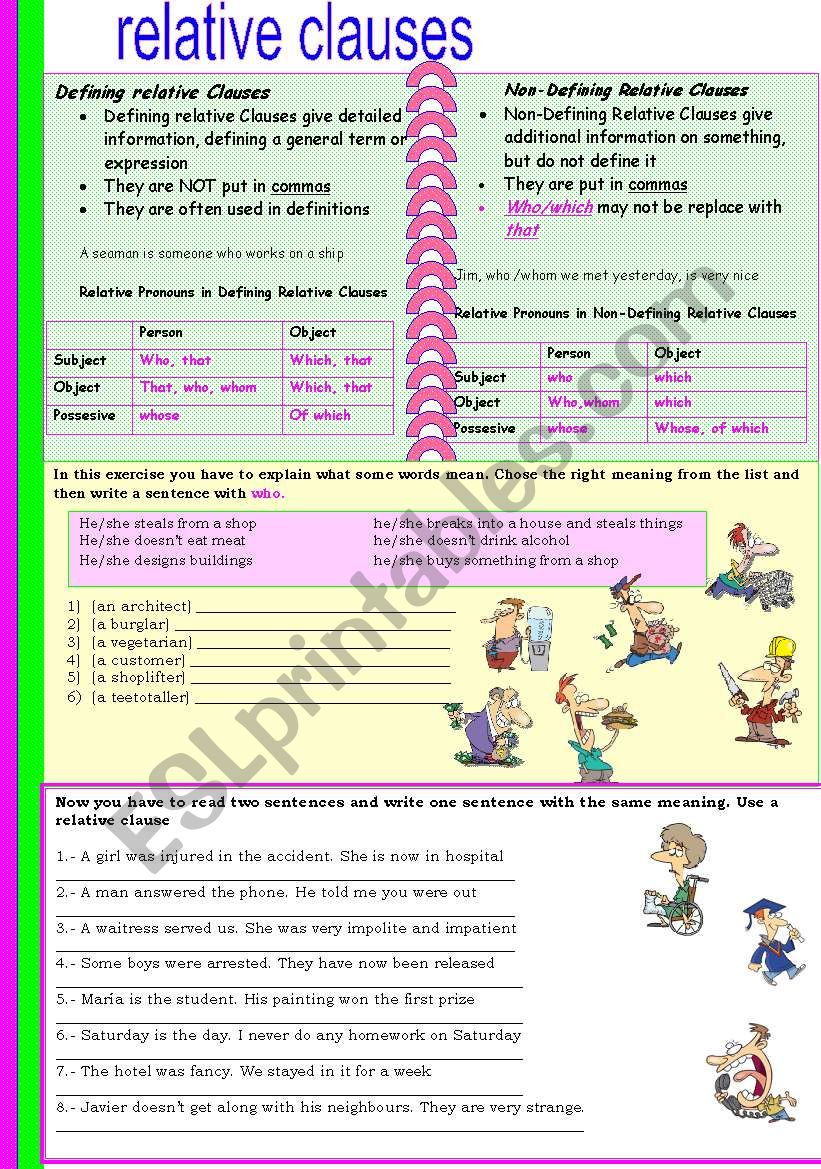 REALTIVE CLAUSES worksheet