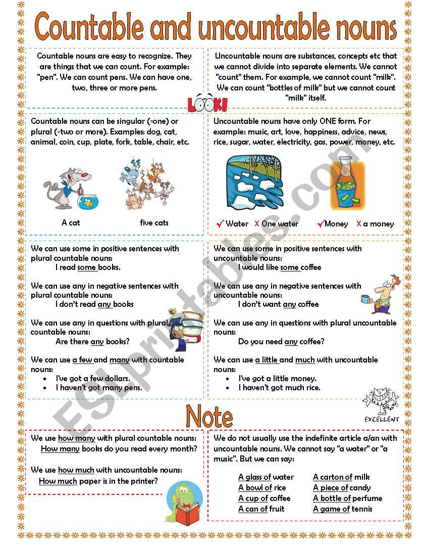 Countable And Uncountable Nouns Esl Worksheet By Caya3001