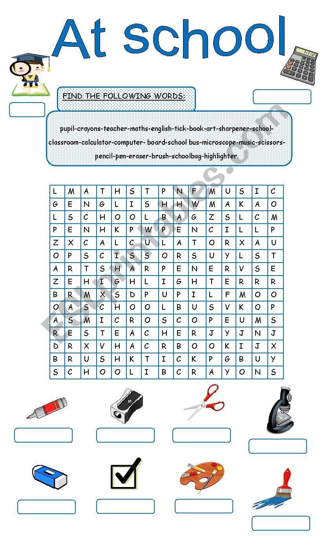 At school - ESL worksheet by MissDal