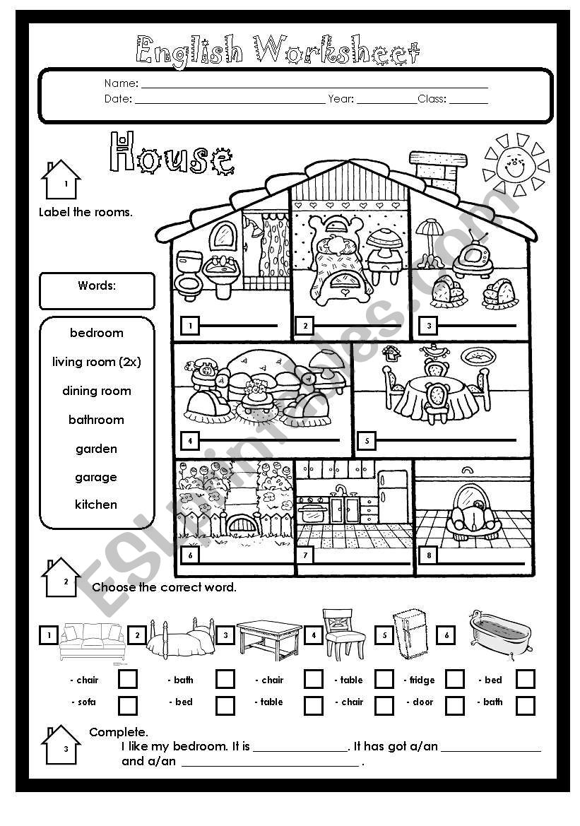 House Rooms and Furniture worksheet