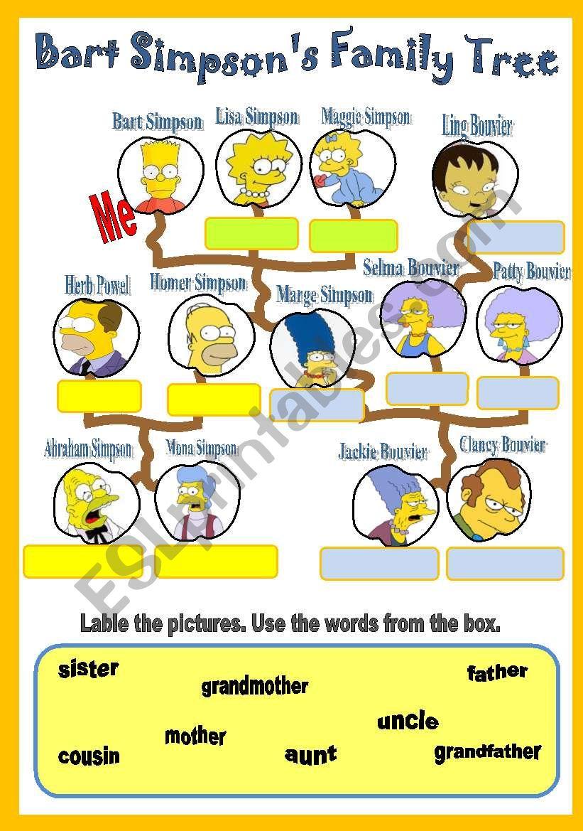 Bart Simpson´s Family Tree worksheet