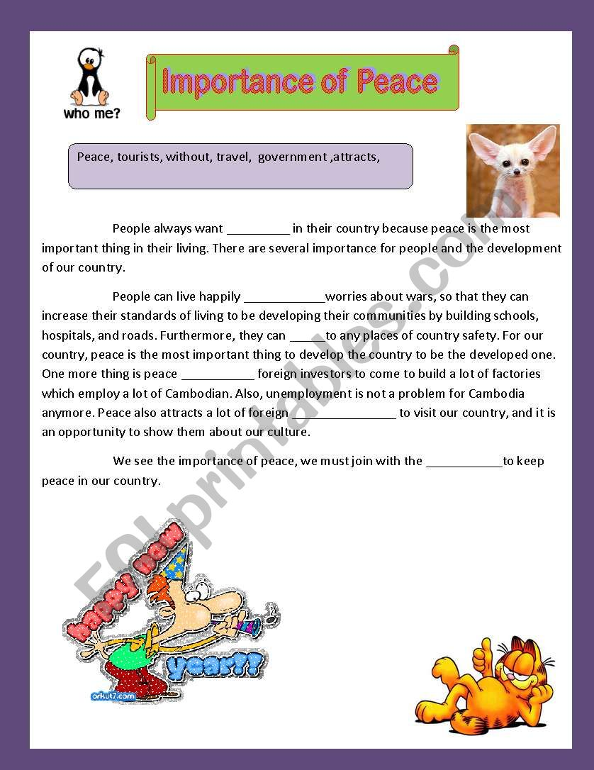 The Importance of Peace worksheet