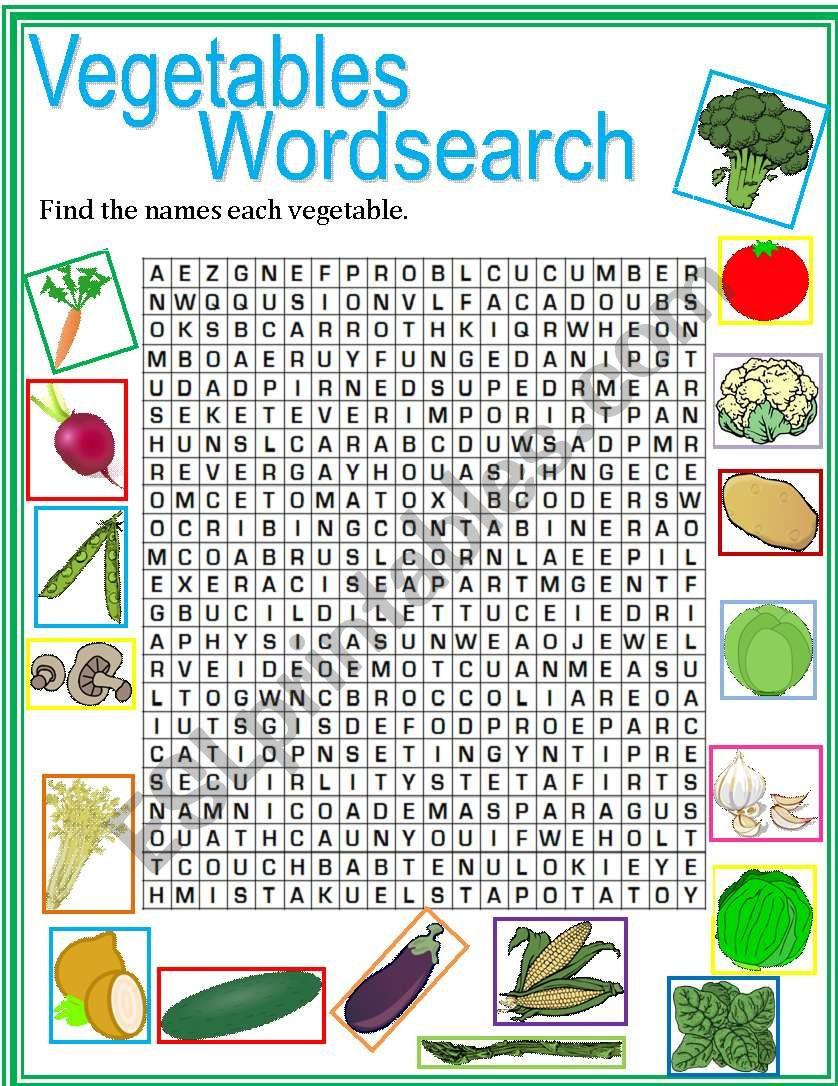 Vegetables Wordsearch worksheet