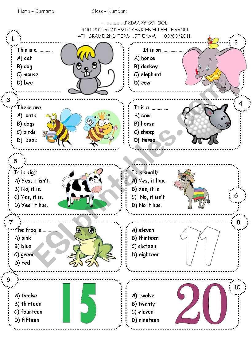 4th grade 2nd term 1st exam worksheet