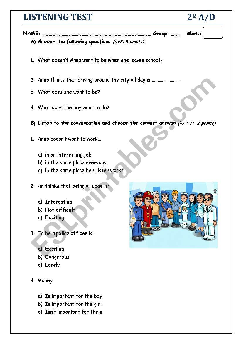 LISTENING TEST_ JOBS AND PROFESSIONS - ESL worksheet by ...