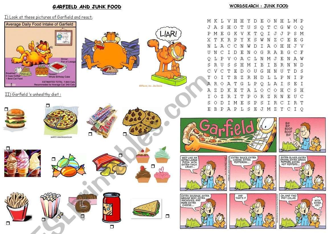 garfield and junk food worksheet