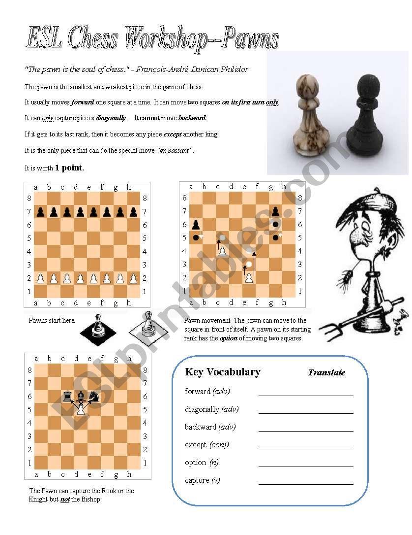 ESL Chess Workshop--Pawns, Rules, Quiz, Key