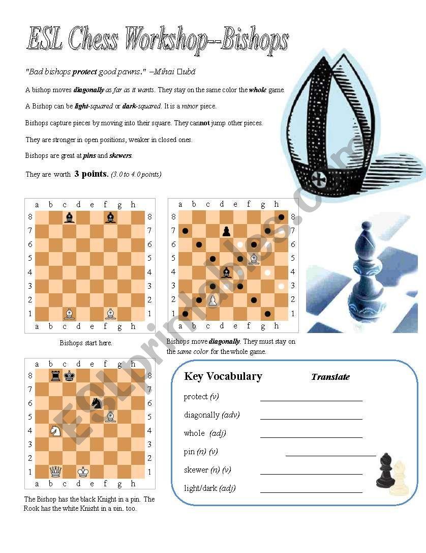 ESL Chess Workshop--Bishops, Rules, Quiz, Key