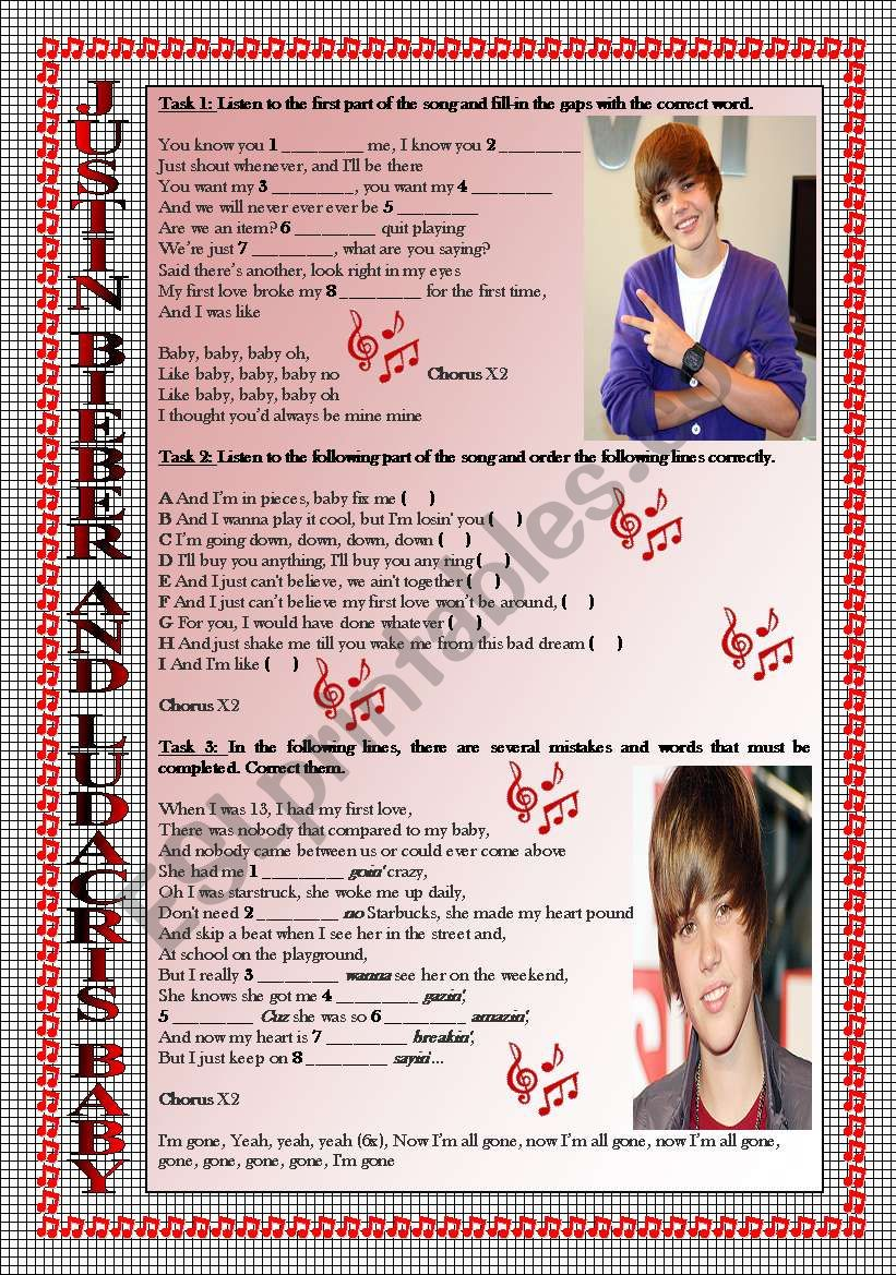 Song Activity: JUSTIN BIEBER-BABY. KEY INCLUDED. FULLY EDITABLE