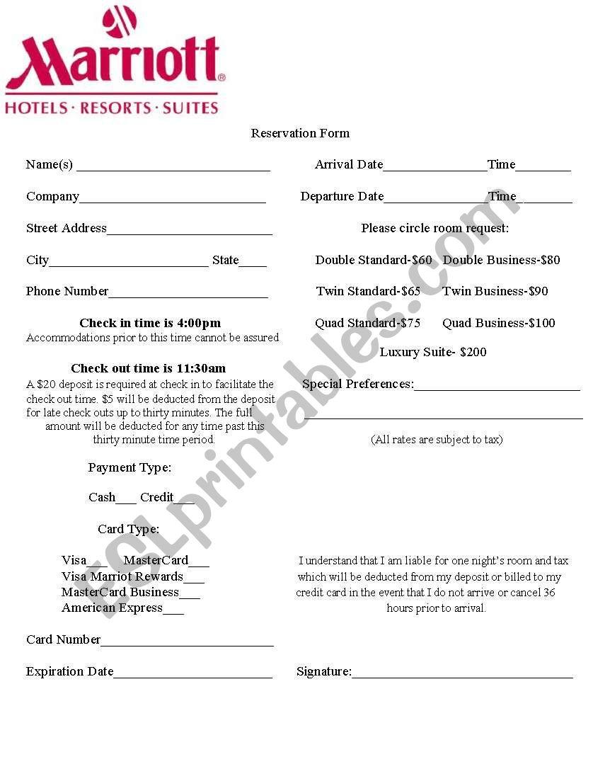 deposit form hotel  Hotel Reservation Form - ESL worksheet by korey11keli