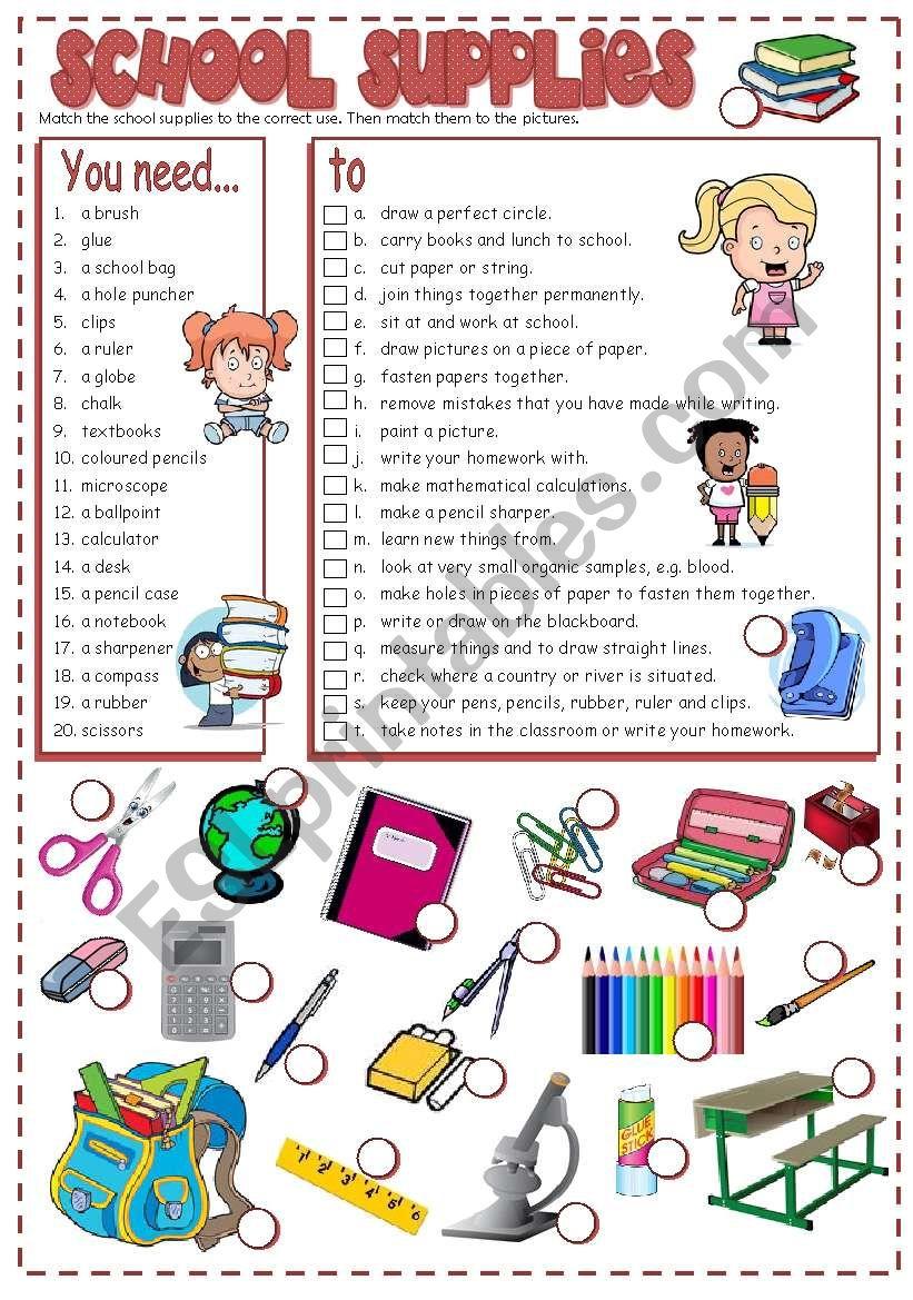 SCHOOL SUPPLIES - matching (B&W + KEY included)