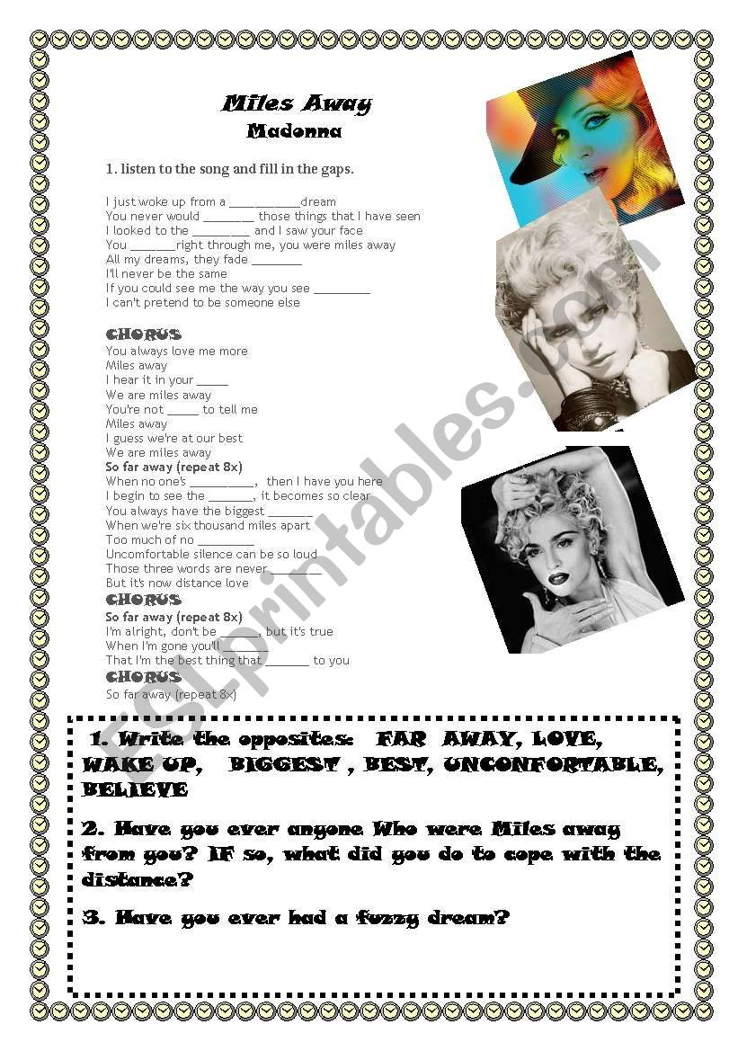 song miles away by Madonna worksheet