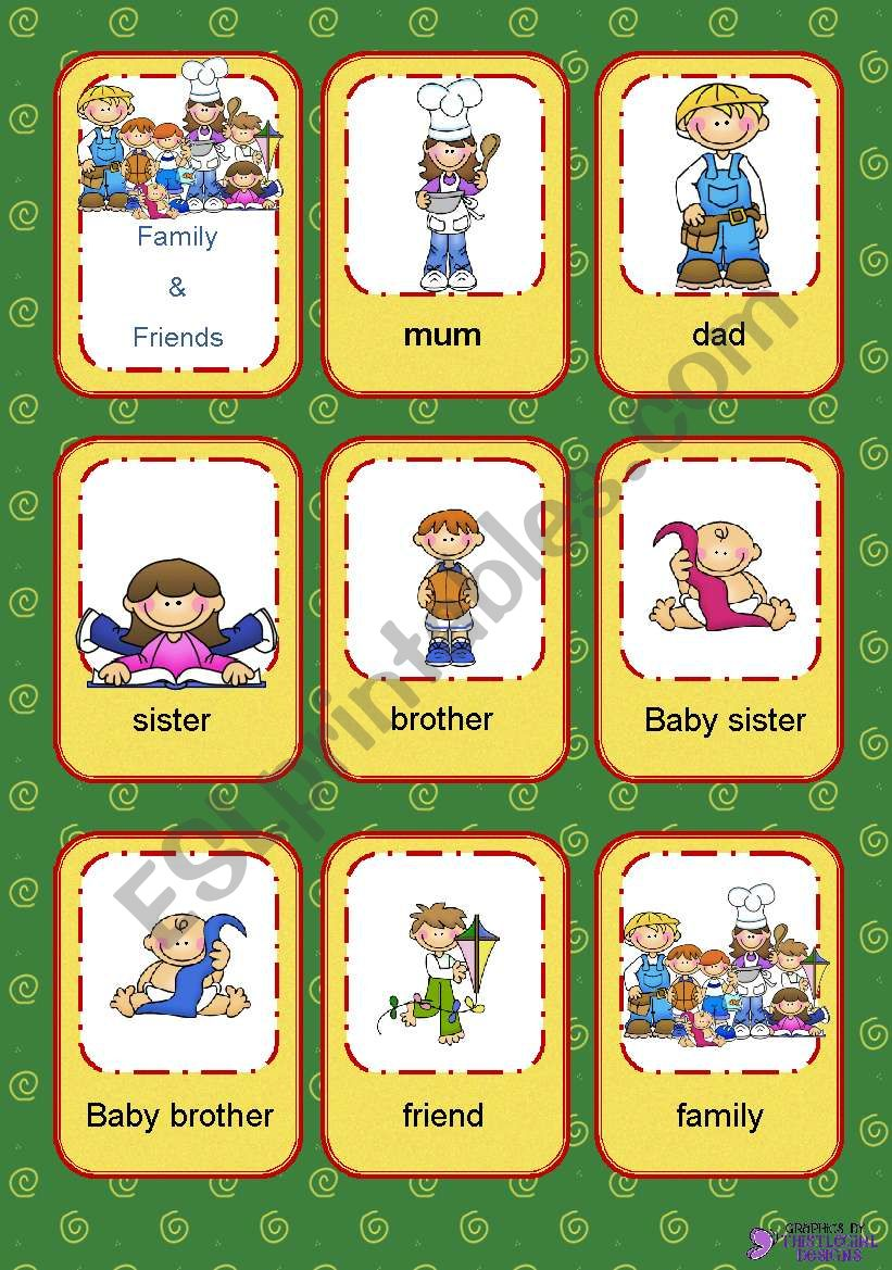 Flashcards Family and Friends worksheet