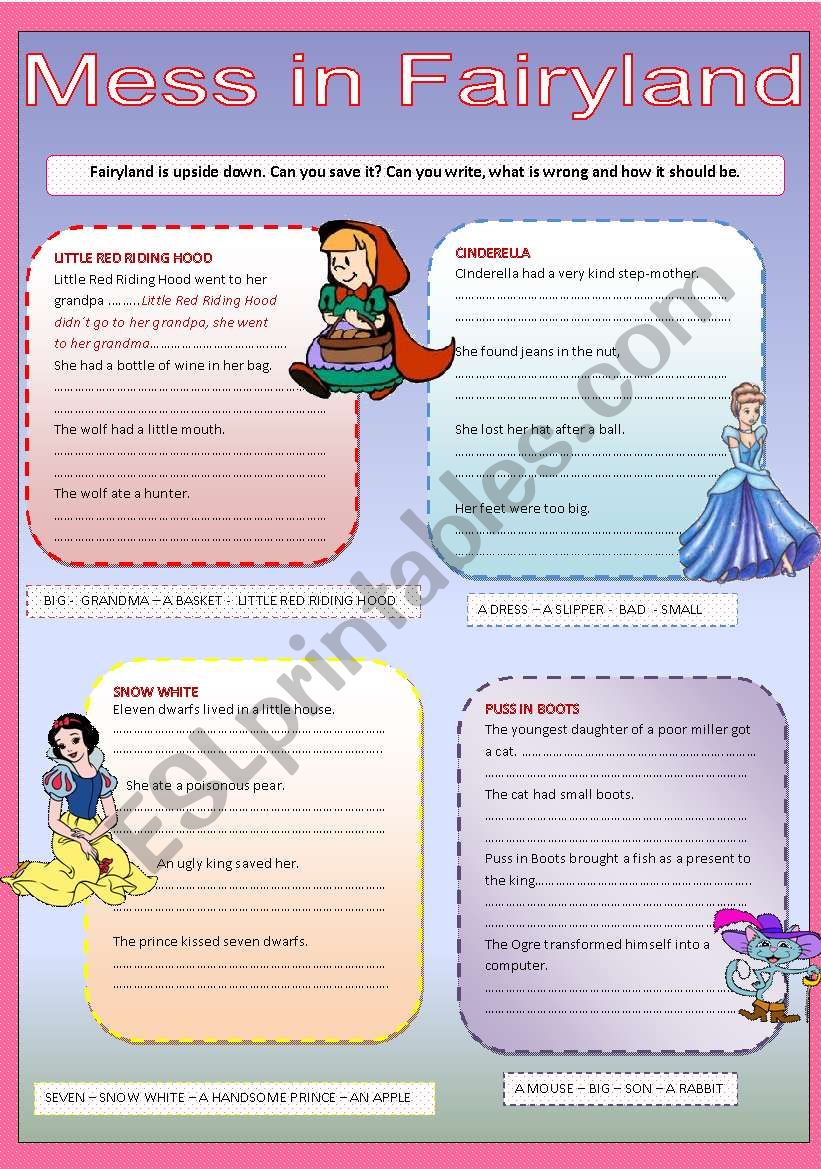 Mess in Fairyland - past simple tense