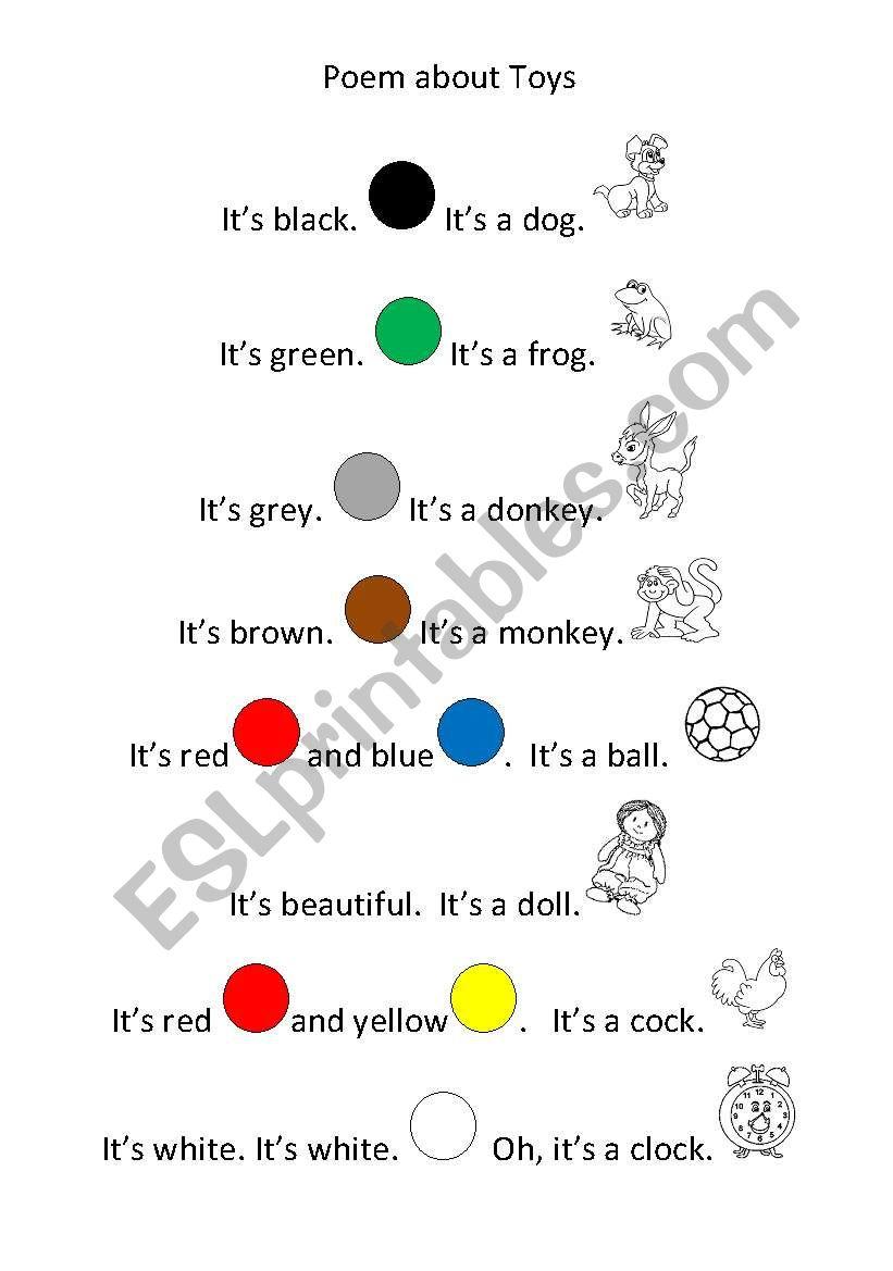 Poem about toys worksheet