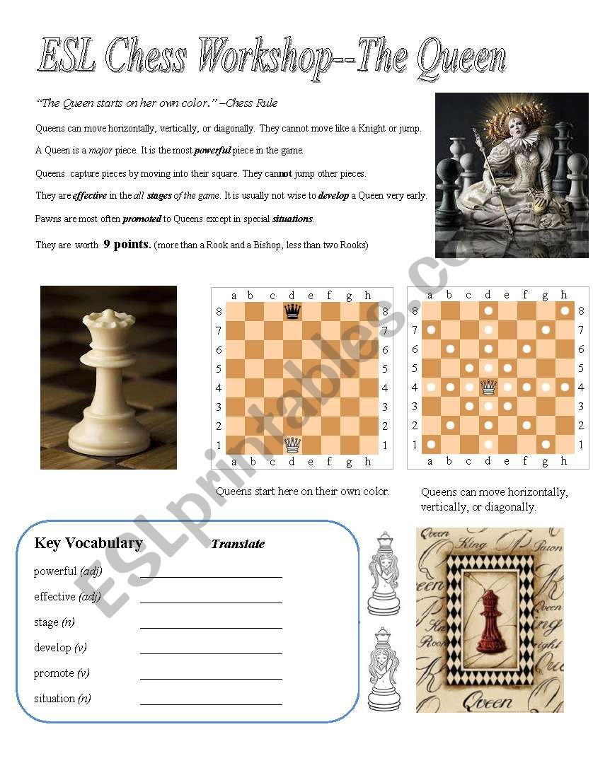 ESL Chess Workshop--Queen (Rules, Quiz, Key)