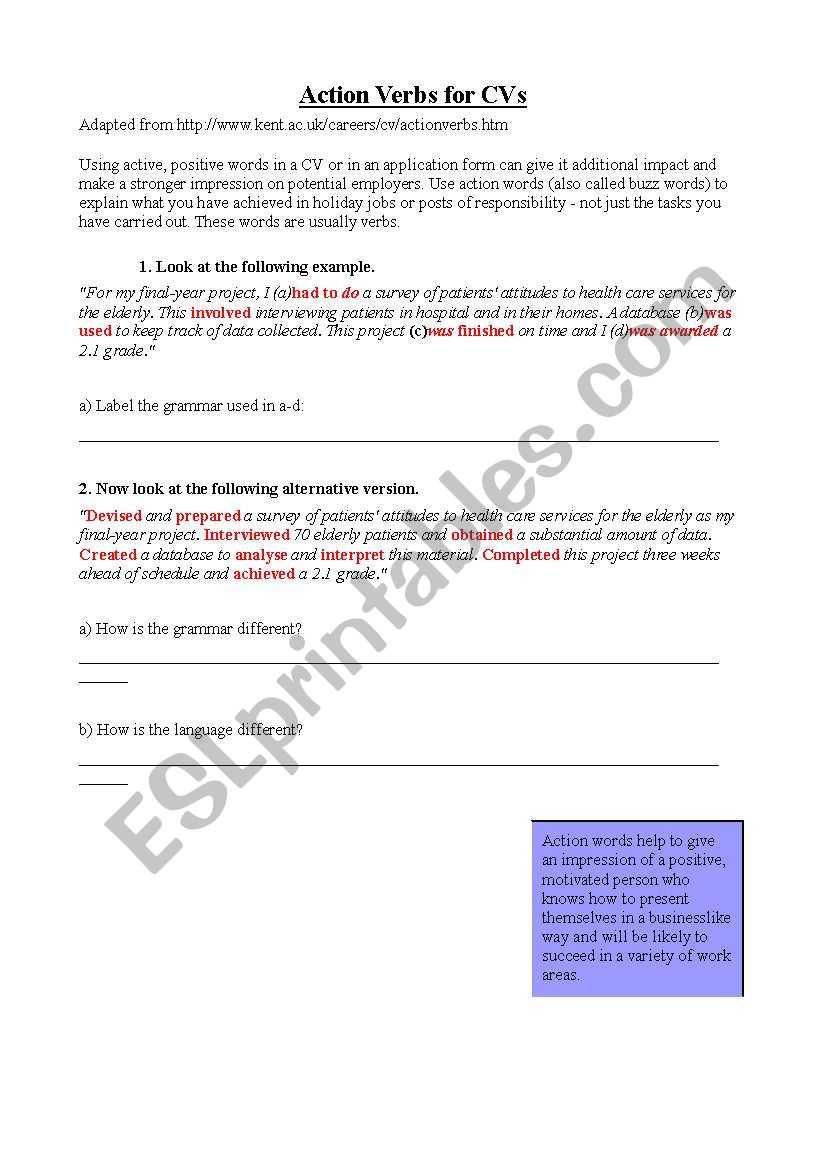 english worksheets  action verbs for cv writing