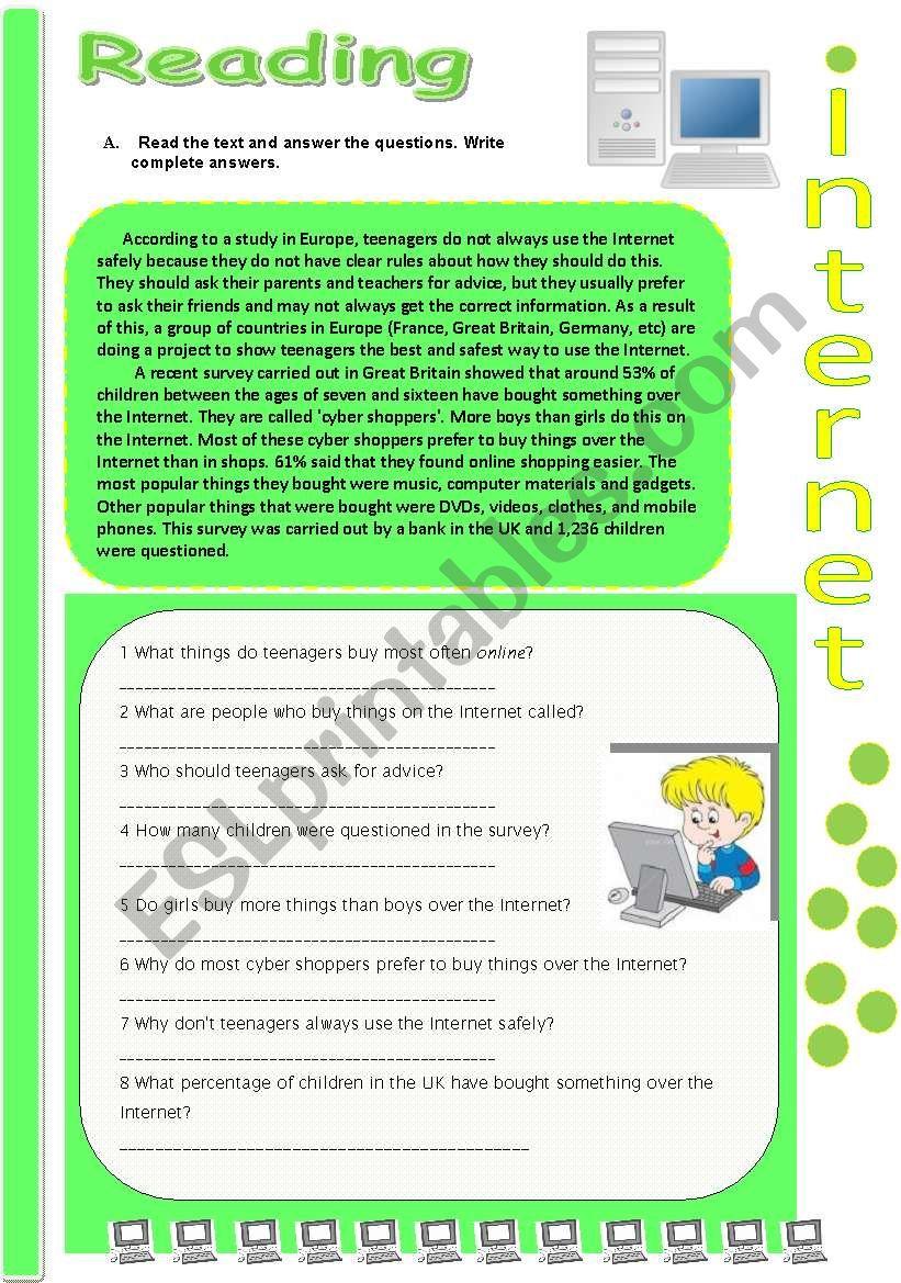 Reading: Internet ( 1 ) worksheet