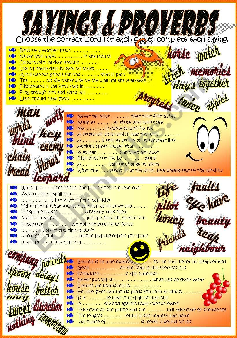 SAYINGS & PROVERBS (one more issue!)