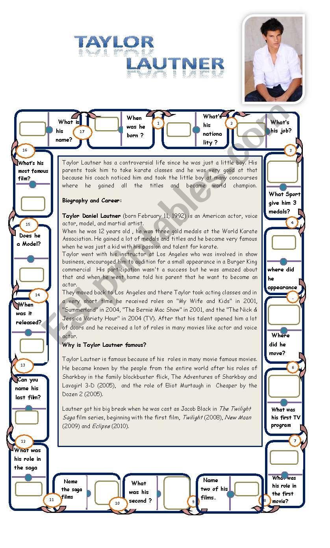 TAYLOR LAUTNER worksheet