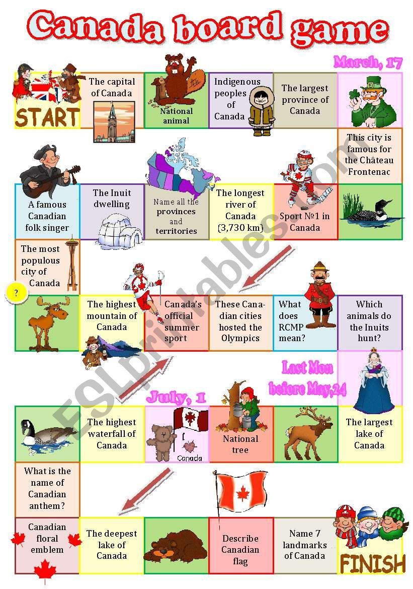 Canada board game worksheet