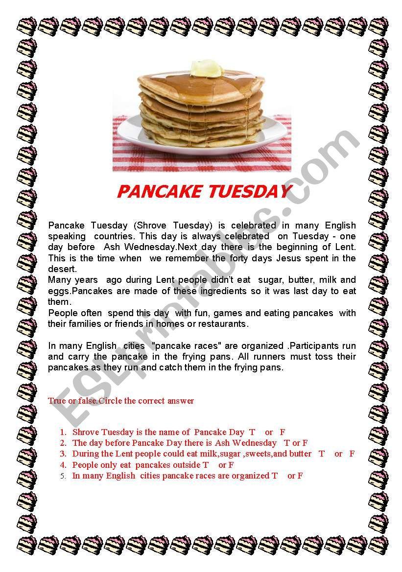 Pancake Day/Shrove Tuesday -reading  practice