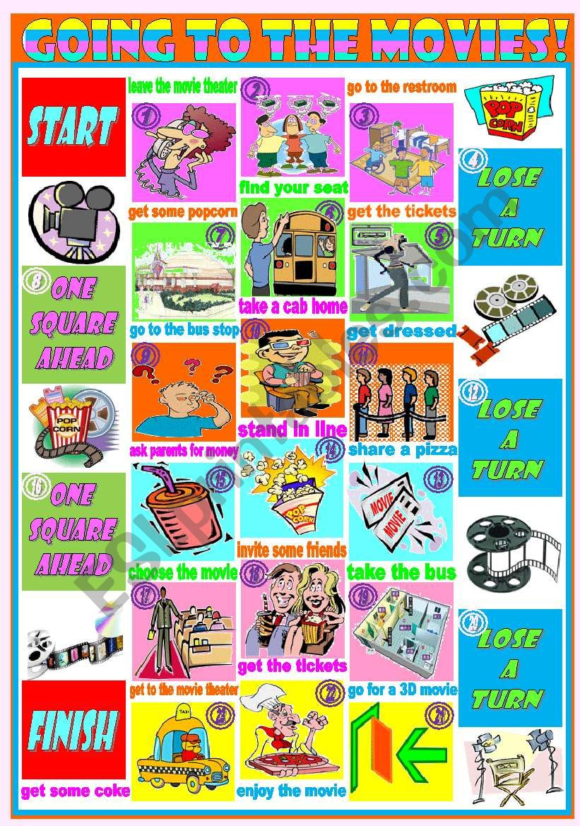 Boardgame: Going to the movies – modals and tenses (will, going to, present simple and continuous, past simple, can) • sentence formation • conversation • game • 2 dices (tenses and forms) • instructions and suggestions • tokens • 5 pages • editable