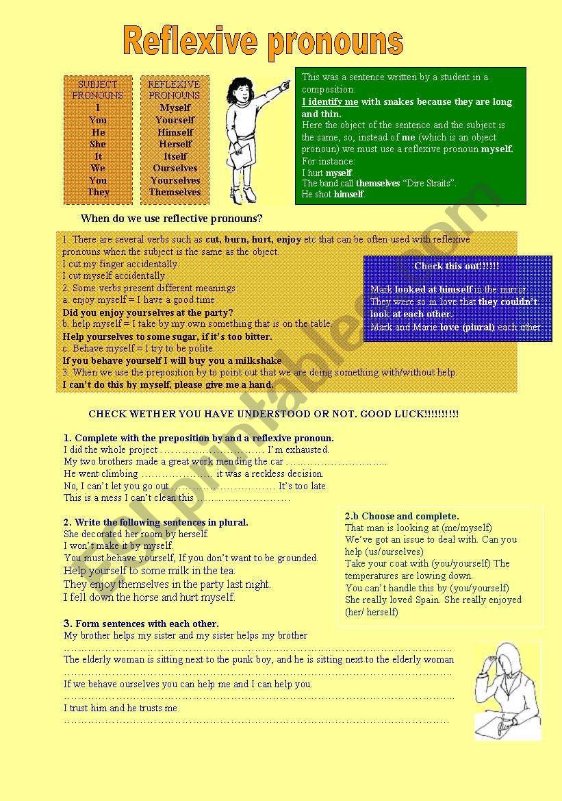 Reflexive Pronouns worksheet